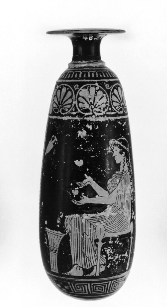 Seated Juggler Priestess / Greek Red Figure Alabastron, 480 b.c.e. (The Walters Art Museum where it is displayed gives the title: Alabastron Depcting A Seated Woman and A Woman Walking to the Right Toward a Chair)